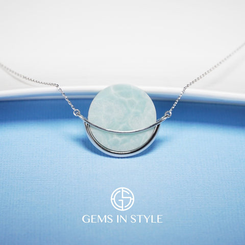 Larimar Gemstone Necklace by Gems In Style Jewellery. 926 Silver.