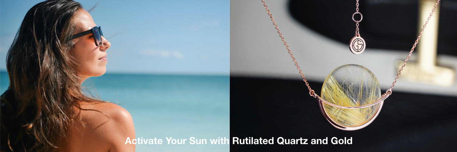 Sun and Rutilated Quartz gemstone necklace by Gems In Style