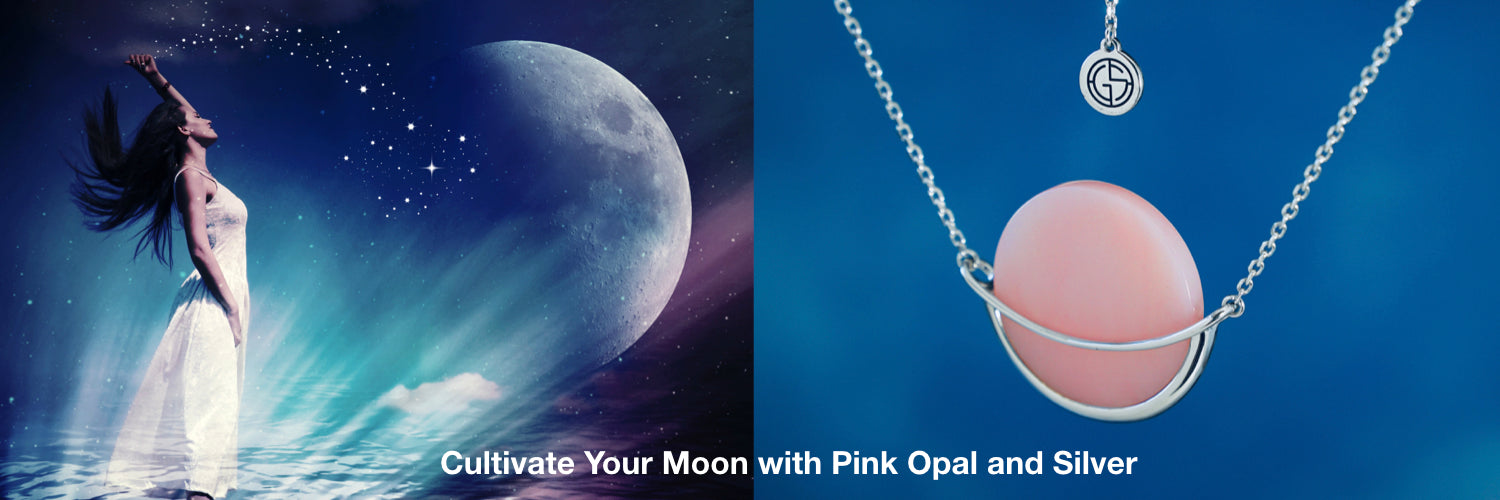 Moon and Pink Opal gemstone necklace by Gems In Style Jewellery