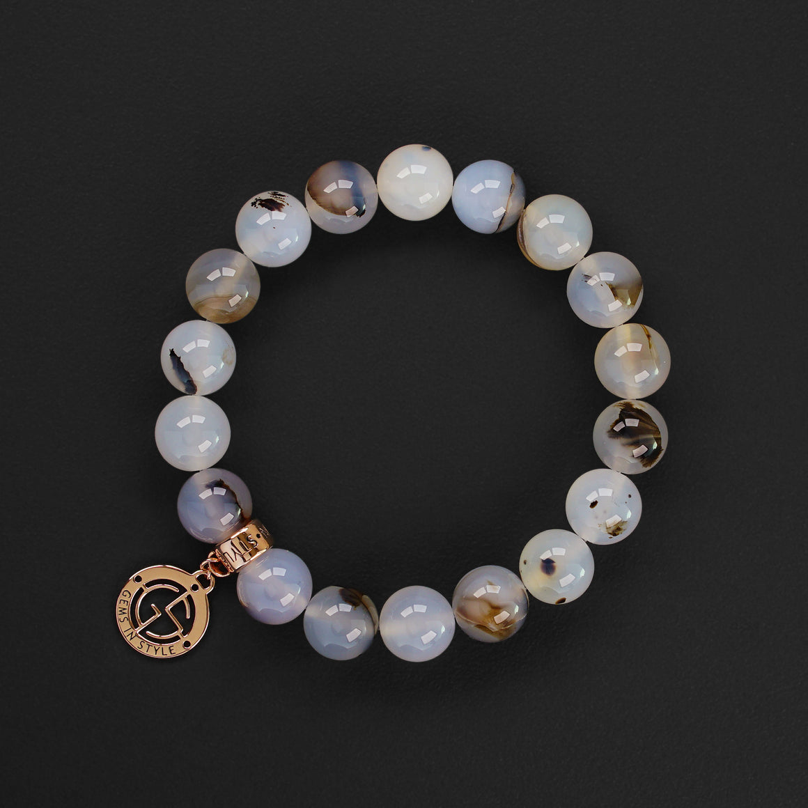 Natural Agate gemstone bracelet with rose gold charm by Gems In Style Jewellery