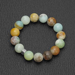 Natural Amazonite gemstone bracelet with silver bead by Gems In Style Jewellery