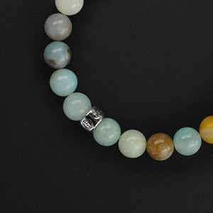 Natural Amazonite gemstone bracelet with silver charm by Gems In Style Jewellery