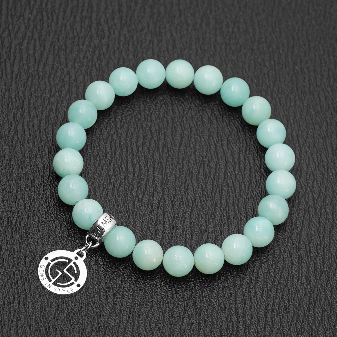 Amazonite gemstone bracelet with silver charm by Gems In Style Jewellery.