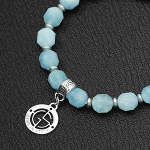 Aquamarine bracelet with silver charm by Gems In Style Jewellery