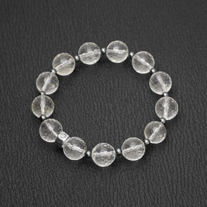Clear Quartz gemstone bracelet with silver bead by Gems In Style Jewellery