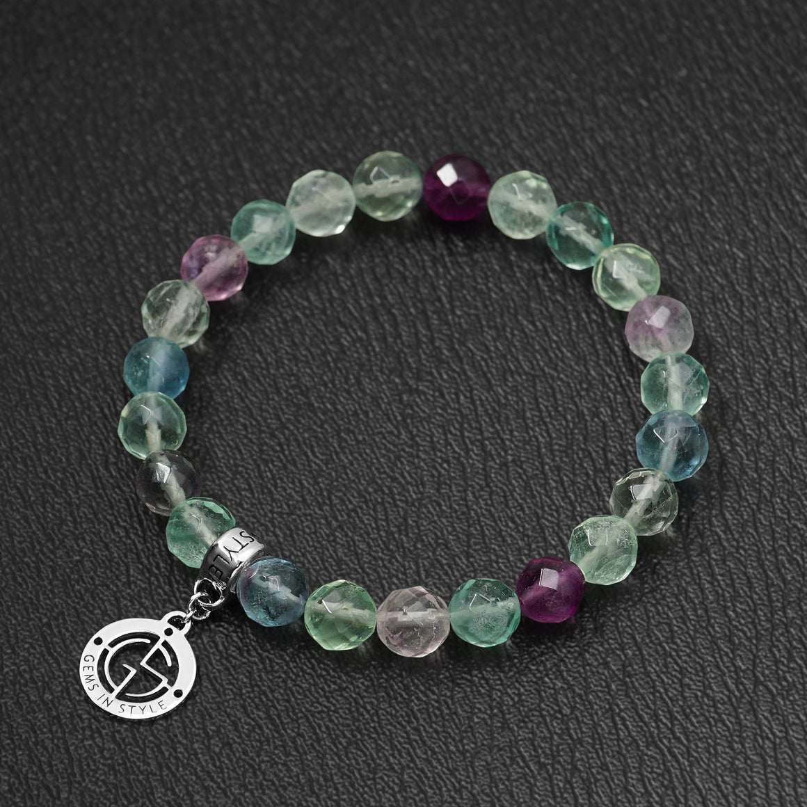 Fluorite bracelet with silver charm by Gems In Style Jewellery.