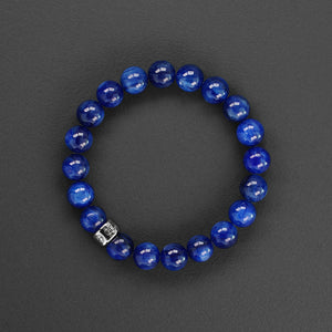Blue Kyanite gemstone bracelet with silver charm by Gems In Style Jewellery.