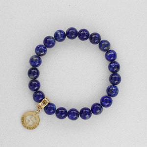Lapis Lazuli natural gemstone bracelet with gold charm by Gems In Style Jewellery