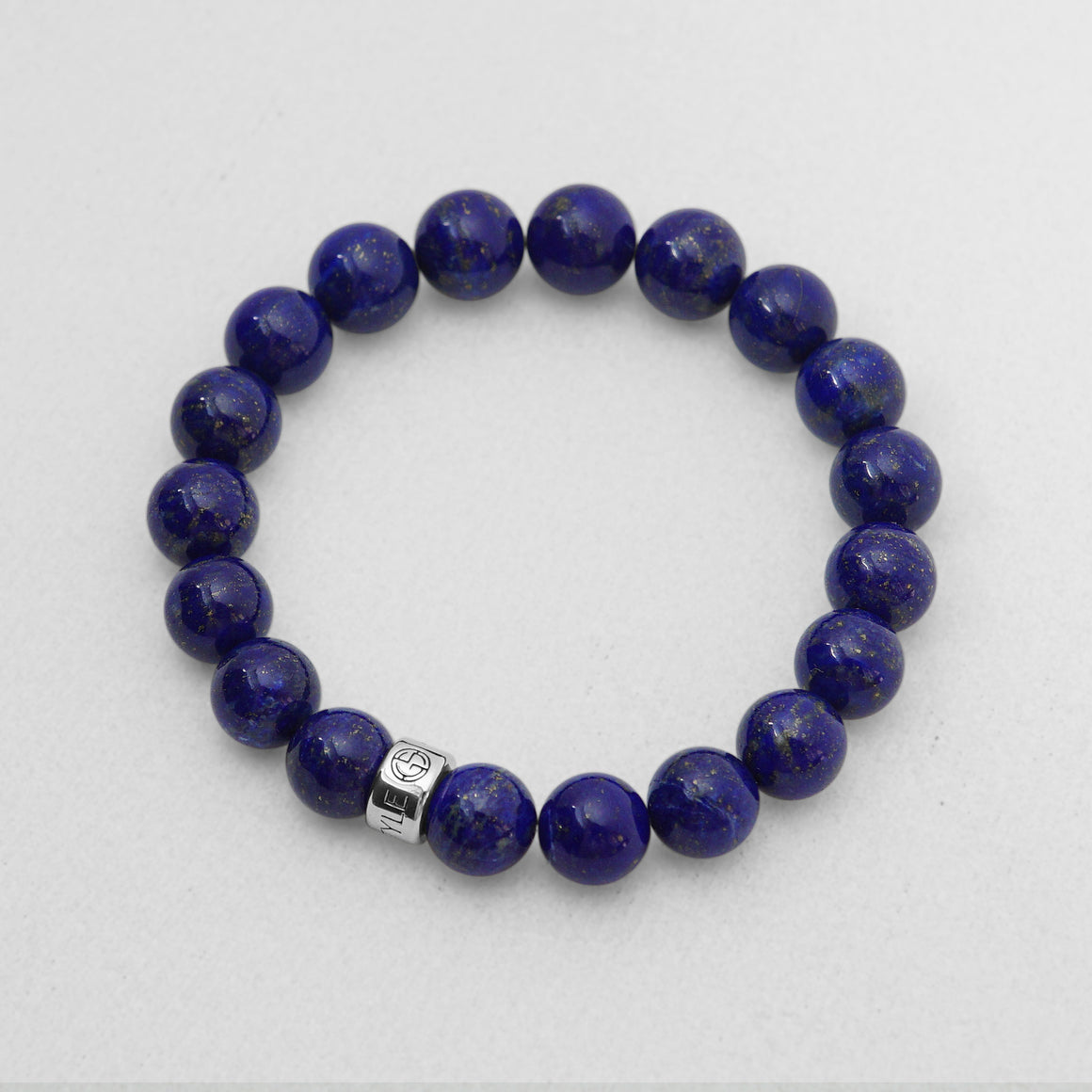Lapis Lazuli natural gemstone bracelet with silver bead by Gems In Style Jewellery