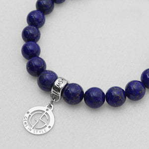 Lapis Lazuli natural gemstone bracelet with silver charm by Gems In Style Jewellery