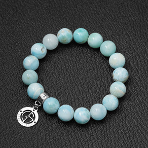 Larimar gemstone bracelet with silver charm by Gems In Style Jewellery