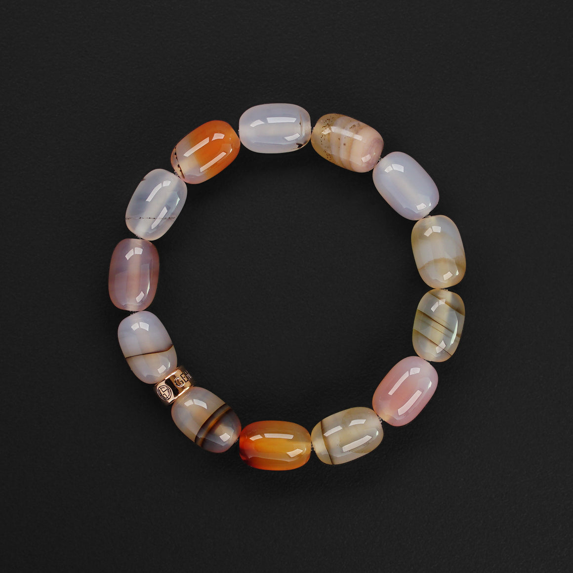 Montana Agate natural gemstone bracelet with branded rose gold charm by Gems In Style Jewellery.