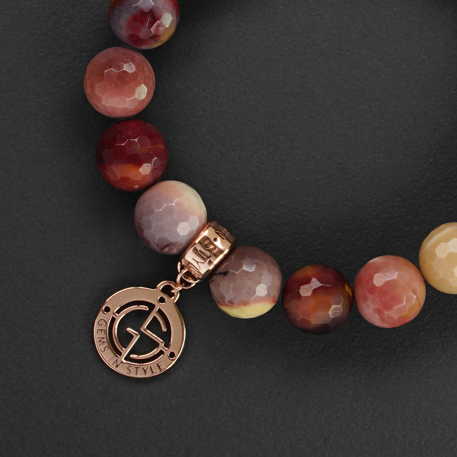Mookaite natural gemstone bracelet with rose gold charm by Gems In Style Jewellery.