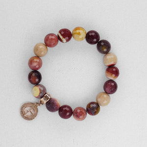 Mookaite natural gemstone bracelet with rose gold charm by Gems In Style Jewellery
