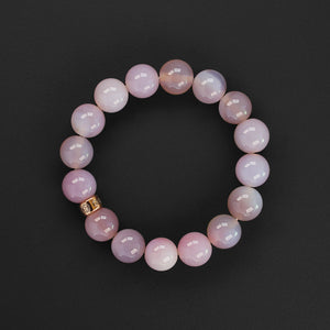 Natural pink Agate gemstone bracelet with rose gold charm by Gems In Style Jewellery
