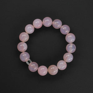 Natural pink Agate gemstone bracelet with silver charm by Gems In Style Jewellery