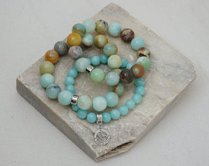 Natural Amazonite gemstone bracelets with silver charms by Gems In Style Jewellery