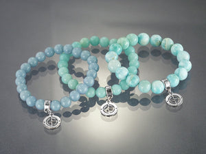 Angelite, Amazonite, Larimar gemstone bracelets with silver charms