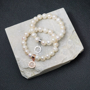 Freshwater Pearl gemstone bracelets with silver and rose gold charms