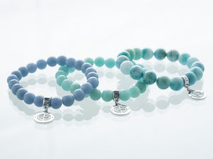 Angelite, Amazonite, Larimar bracelets with silver charms