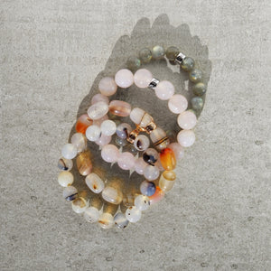 Agate and Labradorite natural  gemstone bracelets with branded  charms by Gems In Style Jewellery.
