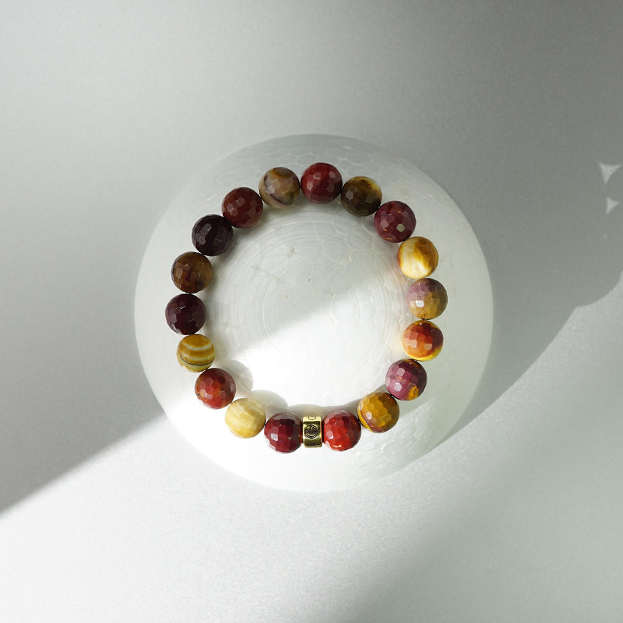 Mookaite natural gemstone bracelet with gold charm by Gems In Style Jewellery.