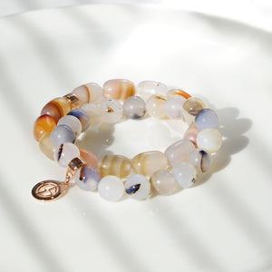 Agate natural gemstone bracelet with branded rose gold charm by Gems In Style Jewellery.