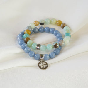 Natural Angelite and Amazonite gemstone bracelets with silver charms by Gems In Style Jewellery