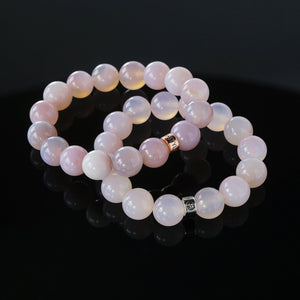 Natural Pink Agate gemstone bracelets with silver and rose gold charms by Gems In Style Jewellery.