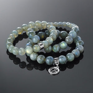 Labradorite gemstone bracelets with silver charms by Gems In Style Jewellery.