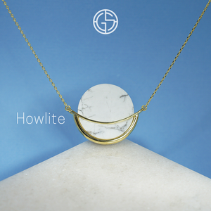GEMS IN STYLE necklace - Dancing Orbit collection, HOWLITE gemstone, 925 Sterling Silver with 14K Gold plating. Modern Minimalist Gemstone Jewellery.