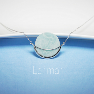 Larimar gemstone necklace, Dancing Orbit collection by Gems In Style Jewellery