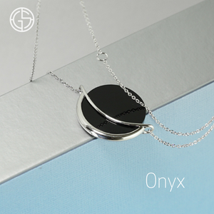 GEMS IN STYLE necklace - Dancing Orbit collection, ONYX gemstone, 925 Sterling Silver with Rhodium plating. Modern Minimalist Gemstone Jewellery.