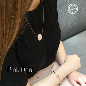 GEMS IN STYLE necklace - Dancing Orbit collection, PINK OPAL gemstone, 925 Sterling Silver with 14K Rose Gold plating. Modern Minimalist Gemstone Jewellery.