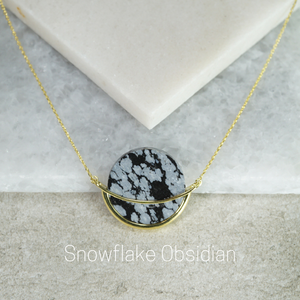 GEMS IN STYLE necklace - Dancing Orbit collection, SNOWFLAKE OBSIDIAN gemstone, 925 Sterling Silver with 14K Gold plating. Modern Minimalist Gemstone Jewellery.