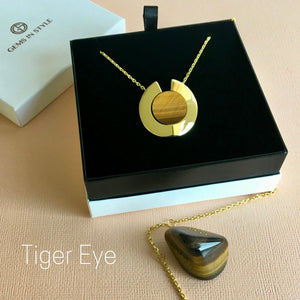 GEMS IN STYLE necklace - Athena Aegis collection, TIGER EYE gemstone, 925 Sterling Silver with 14K Gold plating. Modern Minimalist Gemstone Jewellery.