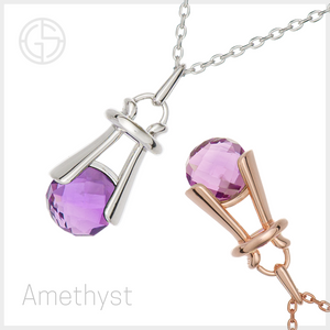 GEMS IN STYLE necklaces - Angel Love collection, Amethyst gemstones, 925 Sterling Silver with Rhodium or 14K Rose Gold plating
