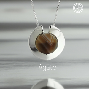 GEMS IN STYLE necklace - Athena Aegis collection, AGATE gemstone, 925 Sterling Silver with Rhodium plating. Modern Minimalist Gemstone Jewellery.