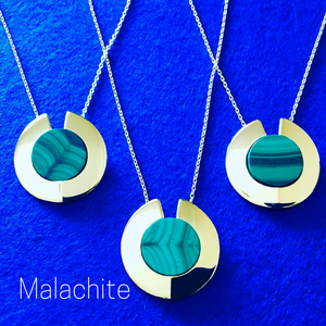 GEMS IN STYLE necklaces - Athena Aegis collection, MALACHITE gemstone, 925 Sterling Silver with 14K Gold plating. Modern Minimalist Gemstone Jewellery.