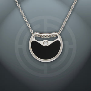 Double Agent necklace, ONYX and PINK OPAL gemstones, 925 Sterling Silver, Rhodium platied.