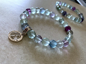 Fluorite gemstone bracelets with silver charms by Gems In Style Jewellery