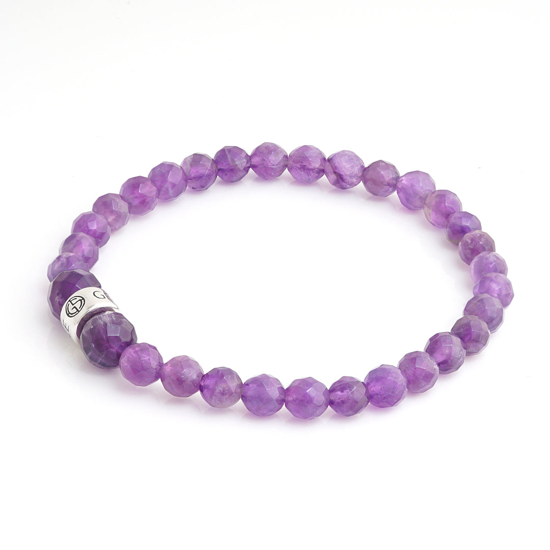Faceted Amethyst natural gemstone bracelet with silver charm by Gems In Style Jewellery.