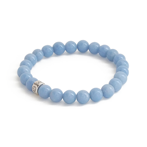 Natural Angelite gemstone bracelet with silver charm by Gems In Style Jewellery