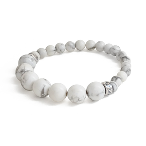 Natural Howlite gemstone bracelet with silver charm by Gems In Style Jewellery