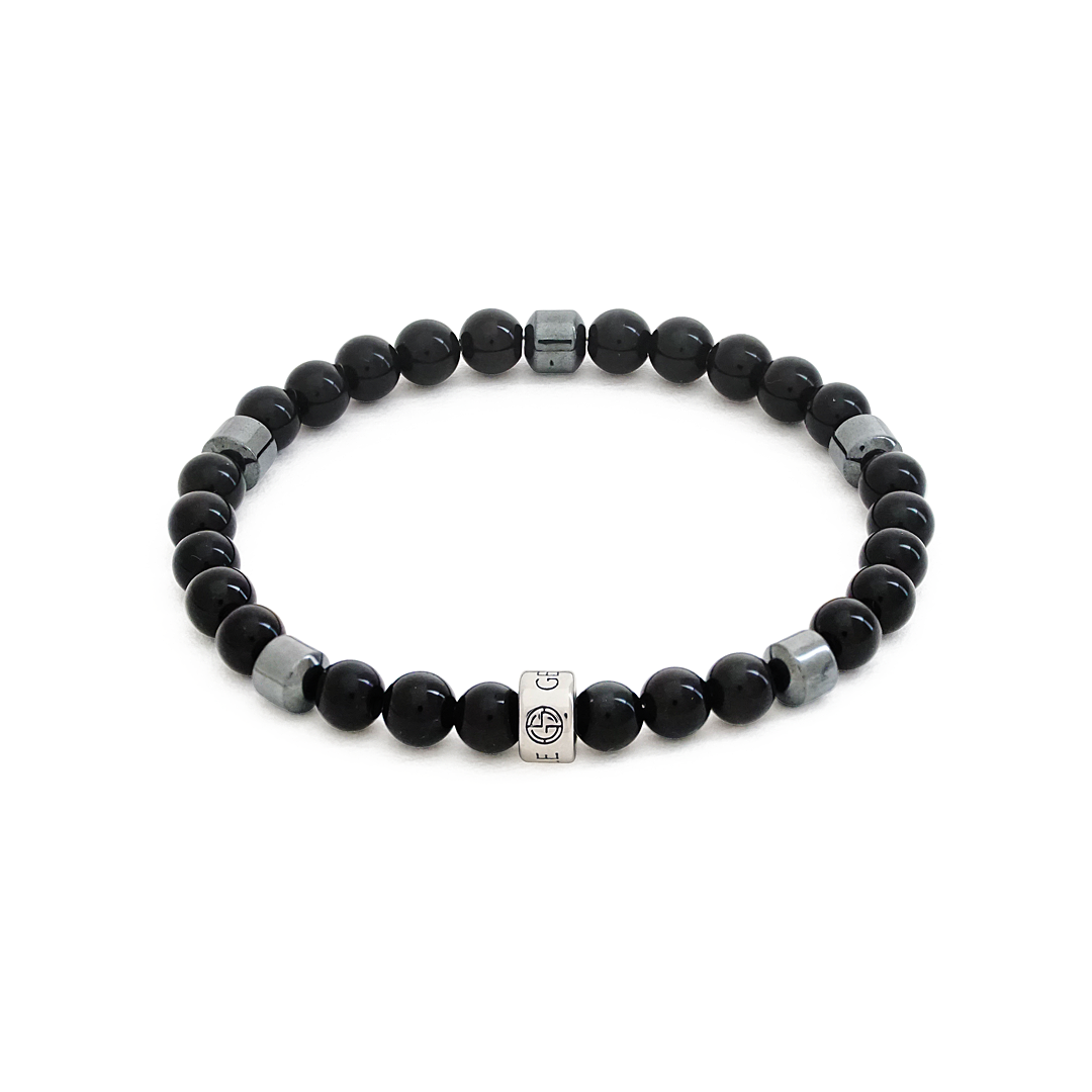 Obsidian natural gemstone bracelet with silver charm by Gems In Style Jewellery.