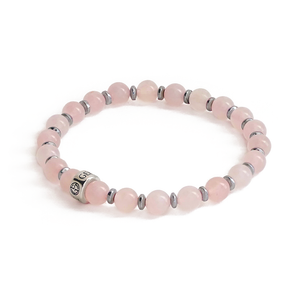 Rose Quartz natural gemstone bracelet with branded silver charm by Gems In Style Jewellery.