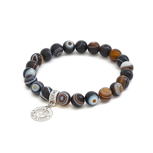 Banded Agate gemstone bracelet with silver charm by Gems In Style Jewellery.