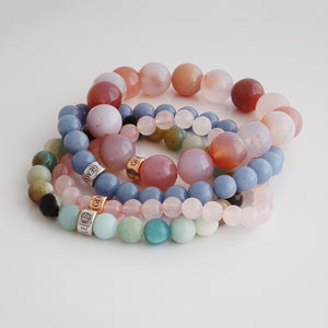 Natural gemstone bracelets with silver and gold charm by Gems In Style Jewellery