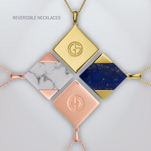 GEMS IN STYLE reversible necklaces - Magic Quad collection, natural gemstones, 925 Sterling Silver with Rhodium or 14K Gold plating. Modern Minimalist Geometric Gemstone Jewellery.