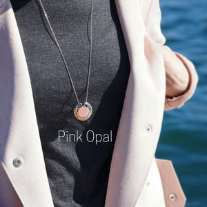 GEMS IN STYLE necklace - Athena Aegis collection, PINK OPAL gemstone, 925 Sterling Silver with 14K Rose Gold plating. Modern Minimalist Gemstone Jewellery.